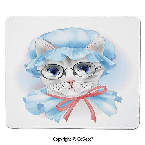 Gaming Mouse Pad,Granny Grandma Old Kitty with Her Old Fashioned Pyjamas and Reading Glasses Artsy,for Laptop,Computer & PC (7.87