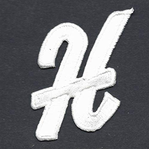 """LETTERS - White Script 2"""" Letter""""H"""" - Iron On Embroidered for sale  Delivered anywhere in Canada"""