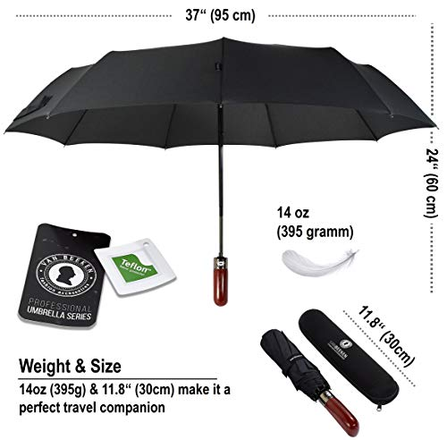 VAN BEEKEN Umbrella Windproof I Wind Resistant Travel Umbrella with Teflon I Light Compact Umbrella I Mini Umbrella Portable Folding Umbrella for Women Men (Black)