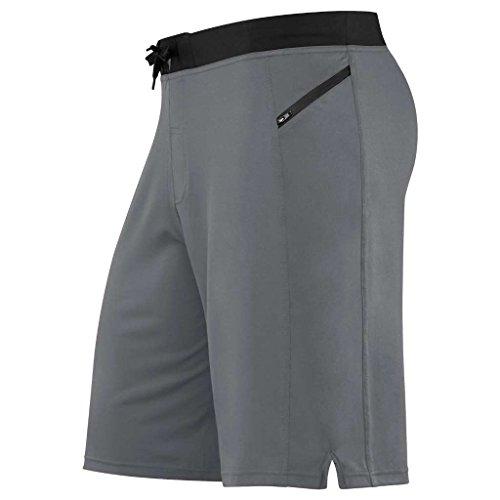 HYLETE Men's Vertex Zip Pocket Short - Flex-Knit Fabric, Hybrid Waistband - Gun Metal/Black - Extra Large/Regular