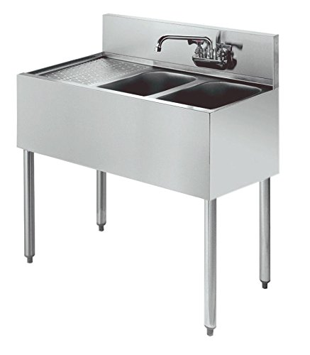 Compartment Bar Sink - Stainless Steel Two Compartment Under Bar Sink Left Drainboard 36 x 18.5
