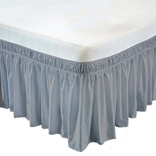 (Wrap Around Bed Skirt- 21 Inch Drop Length Style Easy Fit Elastic Bed Ruffles Bed-Skirt Wrinkle Free Bed Skirt - Light Grey, Twin-XL in All Bed Sizes and Colors )