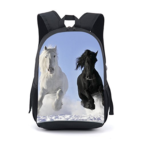 b409f558a237 CARBEEN 17 Inch Horse School Bag Rucksack Backpack (Blue)