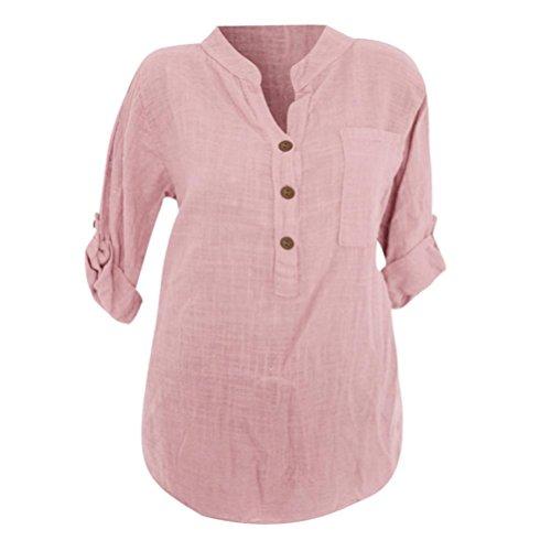 Bringbring Shirt Bouton Translucide Casual Lache Longues Manches Rose Femmes Blouse Sexy Poche Tops RwxPU