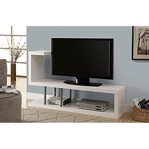 monarch hollow core tv stand 60 inch white - Unique Tv Stands