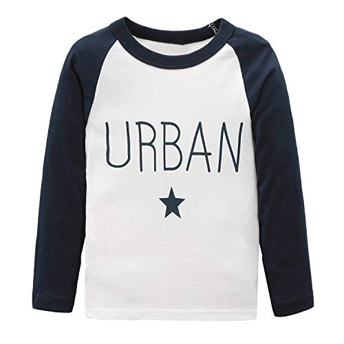 HowJoJo Toddler Boys Long Sleeve Cotton T-Shirts Graphic Tee Shirts Blue 3T
