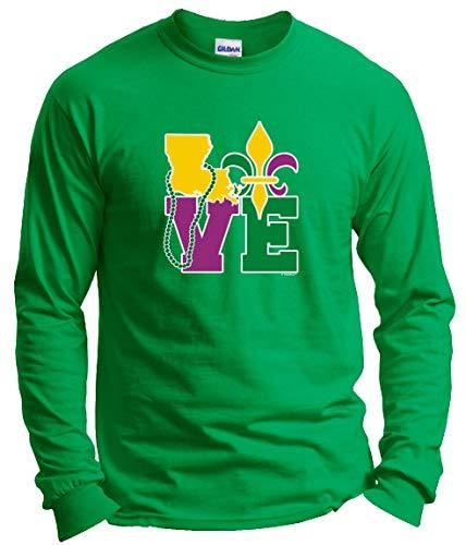LA Mardi Gras Attire Fleur de Lis Gifts Mardi Gras Outfit Louisiana Love Mardi Gras Clothes Long Sleeve T-Shirt 3XL Green