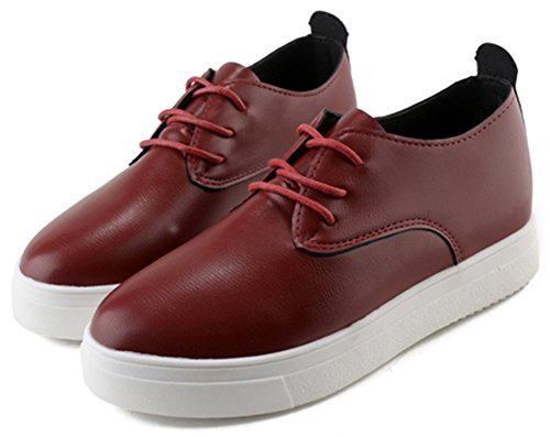 Idifu Womens Confortable Lacets Haut Bas Oxfords Chaussures Bout Rond Plat Casual Baskets Vin Rouge