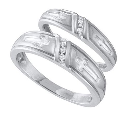 005-cttw-10k-White-Gold-Diamond-His-and-Hers-Matching-Wedding-Bands-With-Crosses