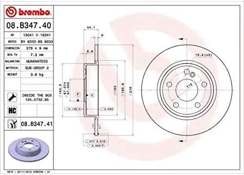 Kit 4 pastiglie freno posteriori Ecommerceparts 9145375115599 Kit 2 dischi freno posteriori