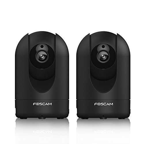 2-Pack Foscam R2 1080P Full HD, Pan and Tilt PnP Wireless IP Camera with WDR, 8x Digital Zoom, 110° Wide Viewing Angle, Enhanced Two-way Audio and Rich Media Message Push, (Black)