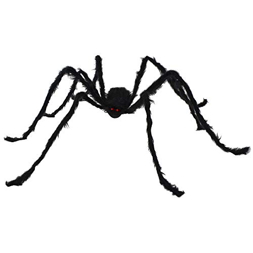 Easy Party Decorations (JOYIN 6.5ft Hairy Black Giant Spider for Halloween Outdoor Decorations and Party)