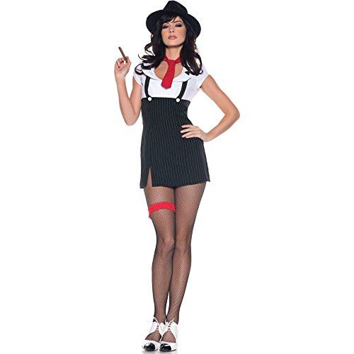 (Women's Sexy Mob Wife Costume - Molly, Black/White/Red,)