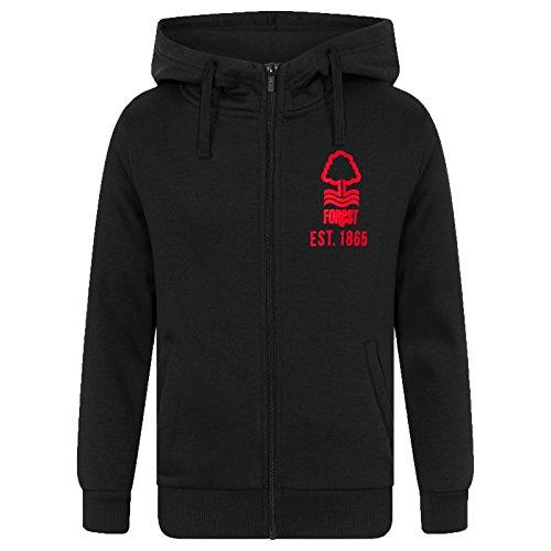 Nottingham Forest FC Official Soccer Gift Mens Fleece Zip Hoody Black ()
