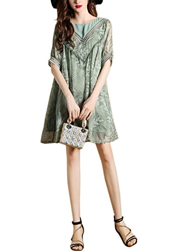 Mini Sleeve for Green Knee Dress Bridal Annie s Women Length Casual Short Loose tq8gSfxwv