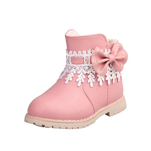 HITRAS Children Warm Boys Girls Snowflake Martin Sneaker Boots Kids Baby Shoes (27, Pink) Cta Pink Silicone