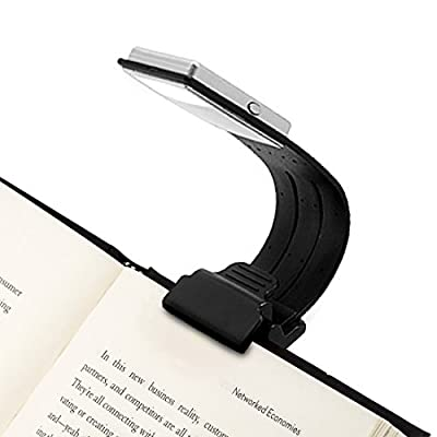Clip On Book Light USB Rechargeable Reading Lamp Eye Care Double As Bookmark Flexible With 4 Level Dimmable for Book Reading in Bed, Kindle, iPad(Black)