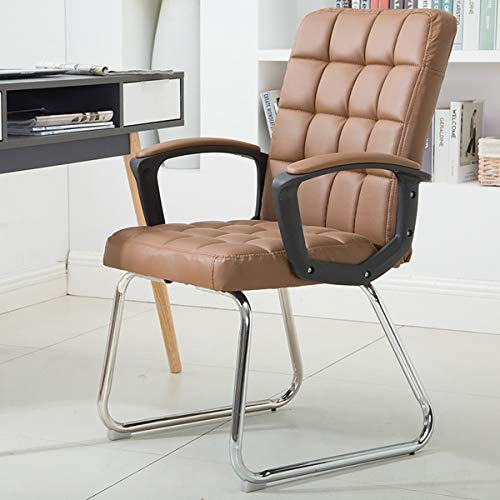 (HOIHO Leather Office Chair, Home Computer Chair with Non-Slip Mats Arched Armrests Conference Chair Student Dormitory Seat Load 200KG (Color : Brown))