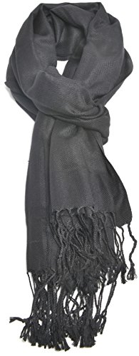Premium Large Soft Silky Pashmina Shawl Wrap Scarf in Solid Colors (Black) by PeoplesMerchandise