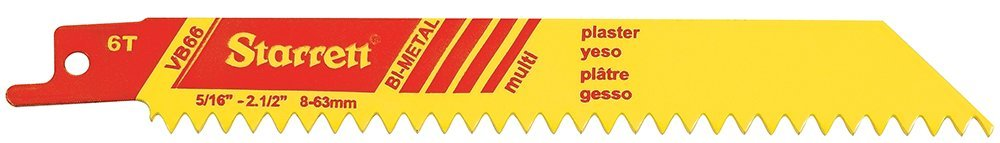 Pack of 5 0.035 Thick 6 Length x 3//4 Width 6 Length x 3//4 Width Starrett VB66-5 Bi-Metal Straight Plaster Cutting Special Purpose Reciprocating Blade 0.035 Thick 6 TPI V-Tooth Pack of 5
