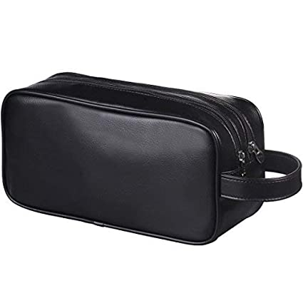 Amazon.com  HappyDavid Soft PU Leather Zipped Travel Toiletry Bag Mens  Ladies Supply Toiletry Bag Case(black)  Health   Personal Care acf34cb0bac67