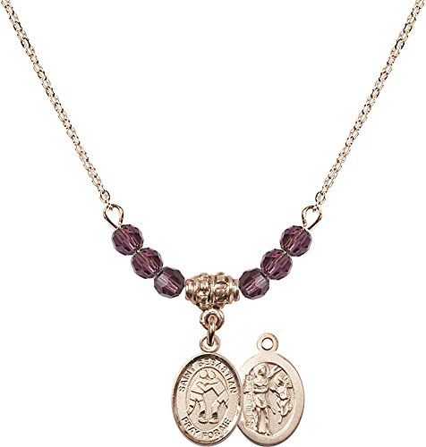 18-Inch Hamilton Gold Plated Necklace with 4mm Amethyst Birthstone Beads and Gold Filled Saint Sebastian/Wrestling Charm. by F A Dumont