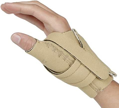 Comfort Cool Thumb CMC Restriction Splint. Beige Patented Thumb Brace Provides Support, Compression. Helps Arthritis, Tendinitis, Surgery, Dislocations, Sprains, Repetitive Use. Right or Left Hand.