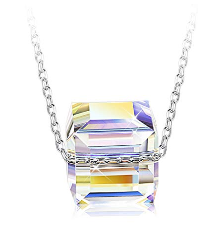 - Sllaiss Square Aurora Crystal Pendant Necklace for Women Silver Tone Chain Necklace Jewelry Gift for Women Girls Crystals from Swarovski