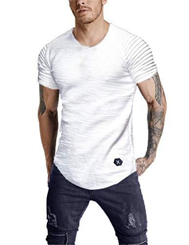 Fenxxxl Mens Casual Slim Fit Short Sleeve Classic Plain Crew Neck T-Shirts Basic Tee Running Tops F194-151 White ()