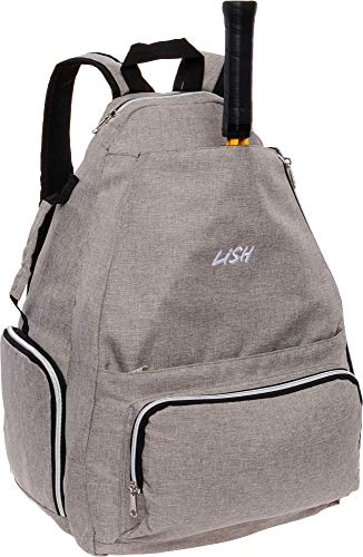 LISH Game Point Tennis Backpack w/Shoe Compartment - Racket Holder Equipment Bag for Tennis, Racquetball, Squash (Grey)