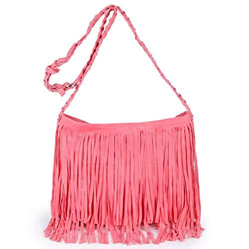 KARRESLY Women's Fashion Fringed Shoulder Bag Tassel Messenger Cross Body Bags for Braided Shoulder Strap(Pink)
