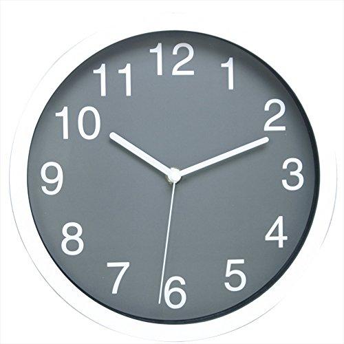 wall clock mount analog quartz round plastic black modern of