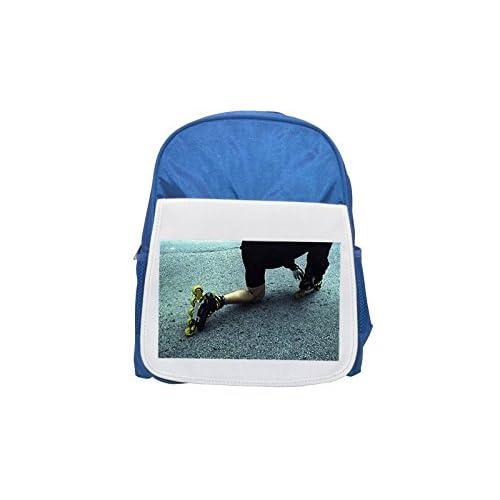 A Person Fixing Rollerblades Printed Kid 's blue Backpack, cute Backpacks, cute small Backpacks, cute Black Backpack, Cool Black Backpack, Fashion Backpacks, Large Fashion Backpacks, Black Fashion Back