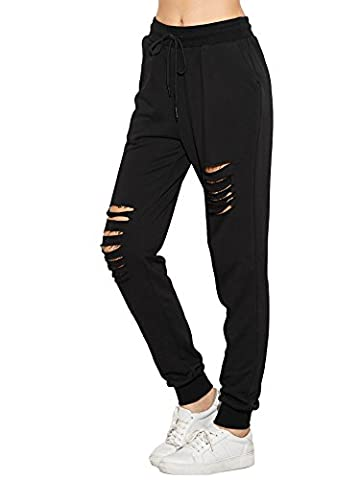 SweatyRocks Pants Women Heather Grey Ripped Drawstring Yoga Workout Sweatpants (Small, Black)