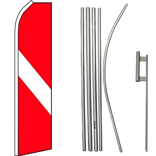 ALBATROS Diver Down Red White Swooper Flag with 16ft Flagpole Kit/Ground Spike for Home and Parades, Official Party, All Weather Indoors Outdoors -