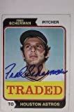 TRADED Fred Scherman Houston Astros 1974 TOPPS #186T Autographed Signed Card 16C