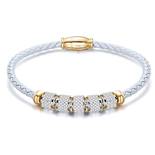 (Jude Jewelers Stainless Steel and Braided Leather Magnetic Clasp Bangle Bracelet (White))