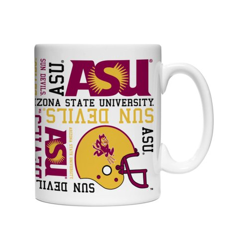 NCAA Arizona State Sun Devils Spirit Mug, 15-ounce, (2 Pack Glass Sport Mugs)