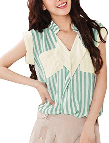 Allegra K Mujer Rayas Verticales Front Camisa Informal Top Verano Blusa Verde