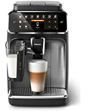 PHILIPS Series 4300 LatteGo Fully Automatic Espresso Coffee Machine with intuitive display, up to 8 different coffees, 12-step grinder levels and durable ceramic grinders, Black, EP4346/70