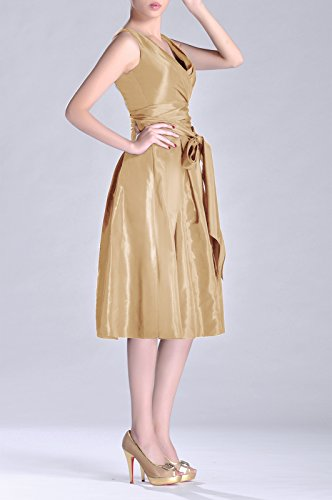 champagnerfarben Tea Modest bridesmaids A Taffeta V neck Length Dress line Pleated Bridesmaid Formal 47w8A8