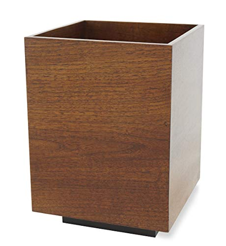 Floating Luxury Walnut Wastebasket Solid Wood Executive Office Paper Waste Bin