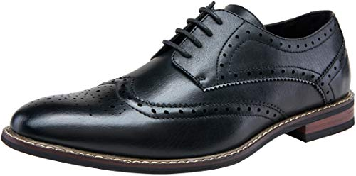 (JOUSEN Men's Oxford Classic Wingtip Brogue Formal Dress Shoes (14,Black))