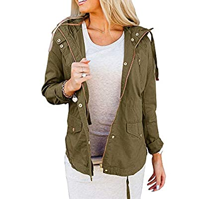 Tutorutor Womens Military Safari Utility Lightweight Jackets Zip Up Coat Multi-Pockets Windbreaker Bomber Jacket at Women's Coats Shop