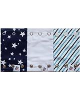 Bodysuit Extenders 3 Different Size Snaps, Blue Stripes, Blue Stars, White