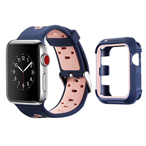 Compatible Apple Watch Band with Case 38mm, MAIRUI Silicone Breathable Replacement with Rugged Bumper Protective Case for Apple Watch Series 3/2/1, iWatch Sport/Edition/Nike+ (Navy&Pink)