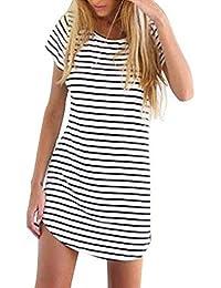 Women's Crew Neck Short Sleeve Striped Loose T-Shirt Mini Dress