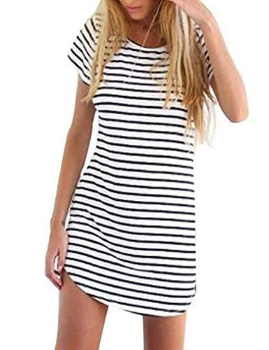 OURS Women's Basic Stripes Short Sleeve Shift Mini Dress Top (M, White (Higher - Striped Dress