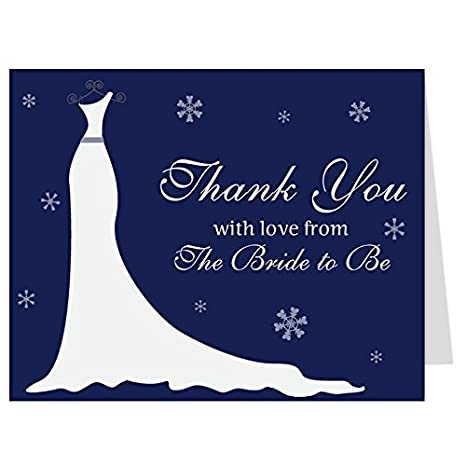 Amazon Com Winter Bridal Shower Thank You Cards Winter Gown
