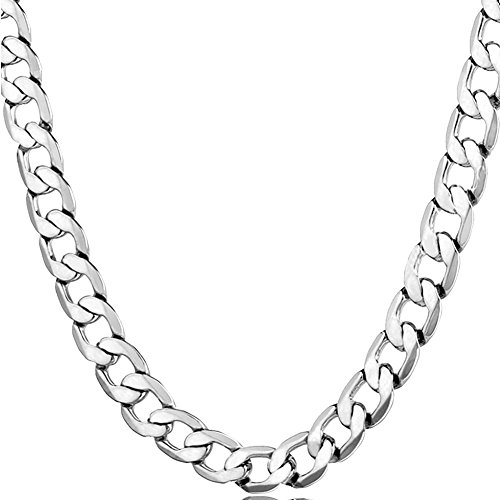 Miami Cuban Chain Necklace Stainless Steel Men Necklaces Fashion Hop Hip Sports Jewelry (01silver)